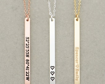 Vertical Skinny Bar Necklace, Long Name Necklace / Personalized Gold Bar Necklace / Personalized Bar Necklace, Gold Bar, Vertical Bar
