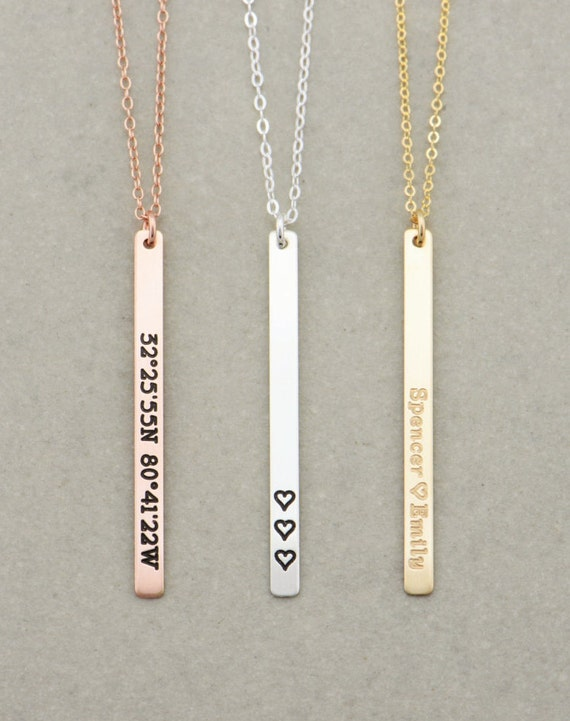 Vertical Skinny Bar Necklace Long Name Necklace