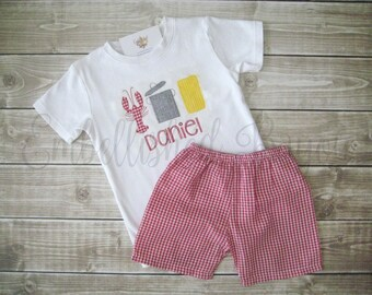 Crawfish Boil Applique T-shirt and Gingham Plaid Shorts for Boys Personalized Set FREE SHIPPING