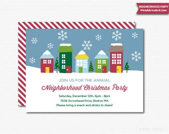 Neighborhood Party Invitation Printable Christmas Open House Invitation Digital Holiday Party Christmas Invitation Block Party Invitation