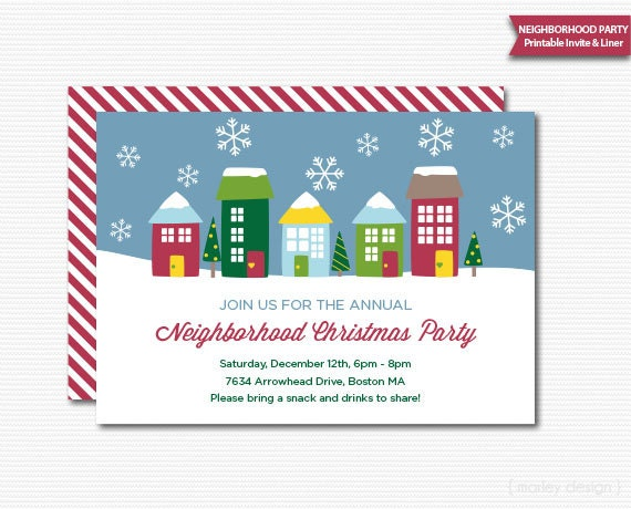Neighborhood party invitation printable christmas open house stopboris Image collections
