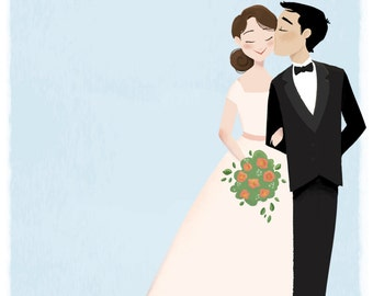 Custom Wedding Portrait (Invitations, Save The Date, Prints or Cards)