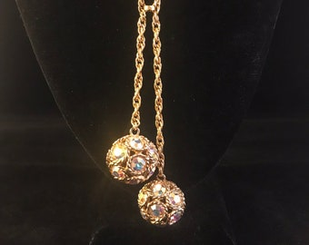 Vintage crystal and gold lariat necklace