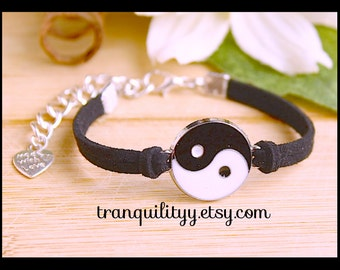 Yin Yang Bracelet Black Faux Suede Adjustable Bracelet Handmade By Tranquilityy