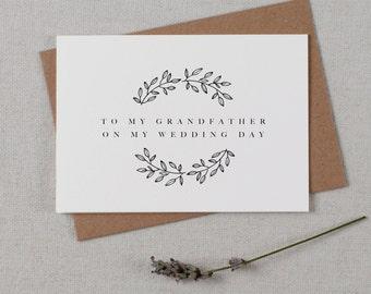 To My Grandfather On My Wedding Day, Wedding Card To My Grandfather Wedding Day, Wedding Stationery, Thank You Wedding Card, Wedding Note,K9
