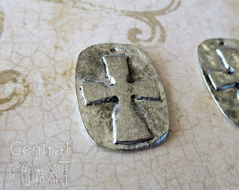 Old World Cross Relief Charm Pendant - Antique Silver - 19mm x 26mm - Central Coast Charms