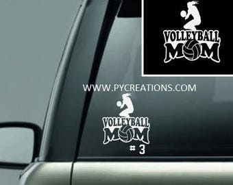 Volleyball Mom Car Decal, Vinyl Window Decal,5.5x5.5 Personalized BaVolleyball Decal With Players Number