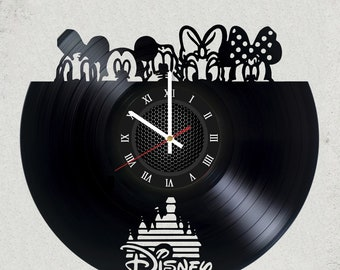 "WALT DISNEY VINyL RECoRD CLoCK made from 12"" Minnie Mouse Vinyl Record best gift for kids bedroom gift for mickey mouse fans childern gift"