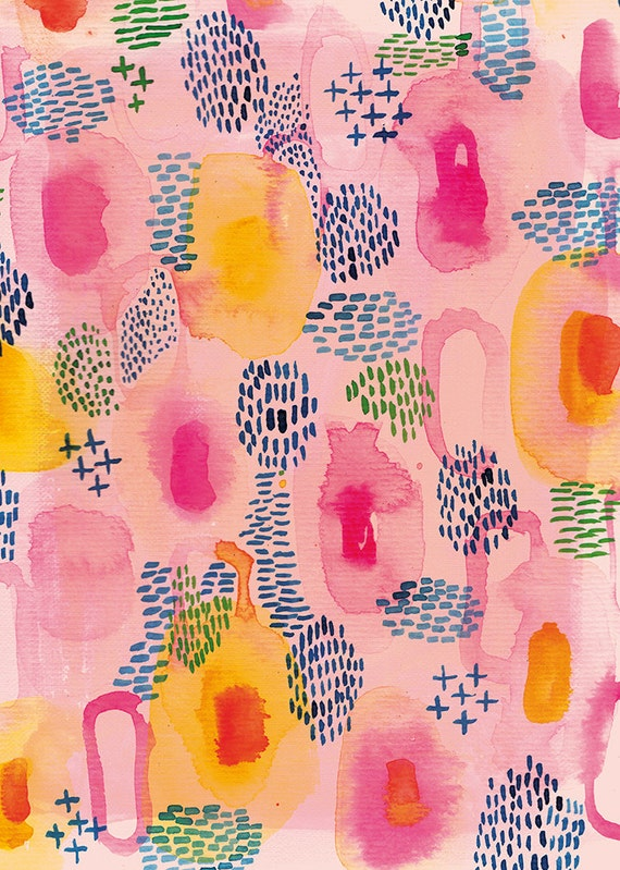 Water Colour Patterns in Pink - wall art print