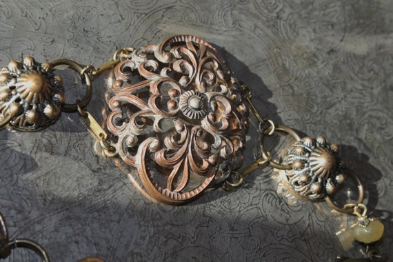"""BRACELET, """"Victorian Flower"""" Art Nouveau, Vintage Assemblage, One of a Kind OOAK Repurposed, Antique Metal Filigree,  Upcycled, Recycled"""