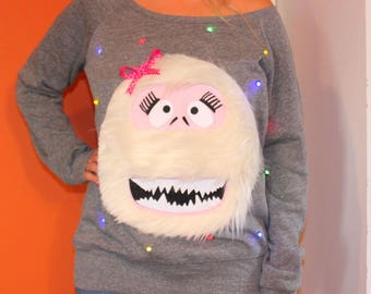 Women's UGLY CHRISTMAS SWEATER - Abominable Snowman - Light Up - Swoop Neck / Off The Shoulder  _____**Fast Shipping**_____