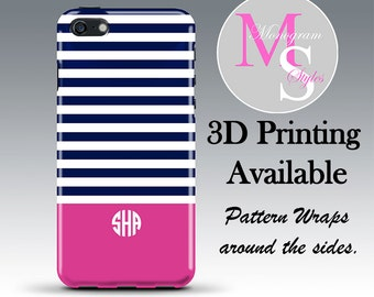 Monogram iPhone 6 Case Personalized Phone Case Navy Pink Stripe Print Monogrammed iPhone Case, Iphone 4, 4S, iPhone 5, 5S, iPhone 5C #2375