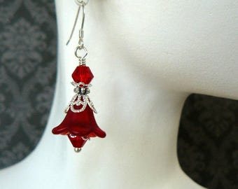 Red Flower Earrings, Bright Crimson Lucite Flower Dangles, Vintage Style Jewelry, Gift for Her, Red and Silver Floral Earrings