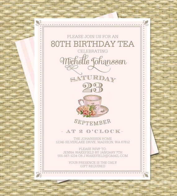 80th Birthday Invitation Birthday Tea Party Invite Adult