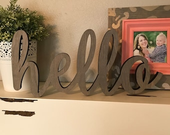 Hello Wood Word Cutout, Laser Cut Word, Welcome Sign Wall Decor, Scroll Cut Word