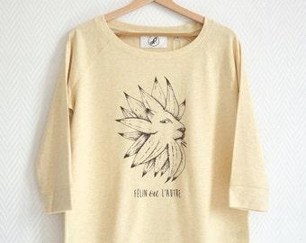 "Sweat-shirt Women cats lion ""Félin ou l'autre"" french expression lion sunflower play on words digital print tencel cotton graphism"