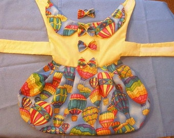 HOT AIR BALLOON Festival - Fun Harness Dress - 2 to 12 lb dogs- Choose bodice color- Made to order