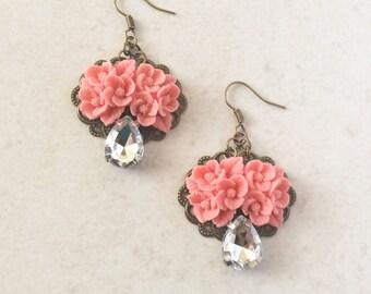 Pink Flower Rhinestone Earrings Coral Floral Earrings
