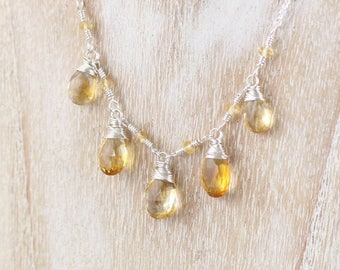 Citrine Necklace in Sterling Silver, Rose or Yellow Gold Filled. Wire Wrapped Gemstone Jewellery. Layering Necklace. Boho Statement Jewelry