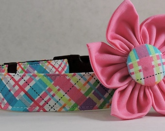 Dog Collar  with Flower - Pink Biasplaid - All Sizes