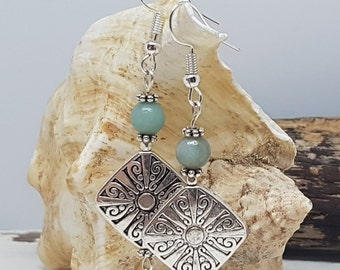 Blue Amazonite (Blue Jade) Crystal and Silver Plated Celtic Bead Earrings