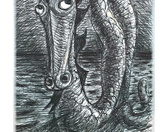 """Nessie - a """"scribble"""" blank or missing-you card"""