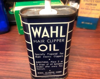 Vintage Tin Metal Can Of WAHL Hair Clipper Oil
