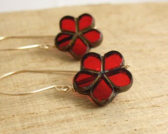 Earrings with Red and Gold, Czech Glass Flower Beads Wire Wrapped with Gold Filled Wire GHE-22
