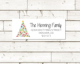 Christmas Return address label - custom- 2 5/8 x 1 inch rectangular, white photo gloss label, sticker, Christmas Label - SET OF 30