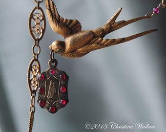 A French Pilgrimage--Antique French Pilgrimage Holy Medal Vintage Bird Brooch Garnet Gemstone Vintage French Link Chain NECKLACE