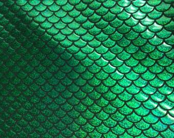 """Green Mermaid Scale 4 Way Stretch Hologram Spandex Fabric - BTY - 60"""""""