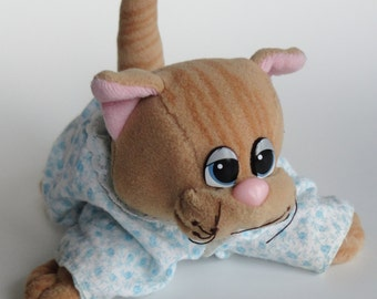 1 Vintage 80s Small Pound Purries Kitty CAT Plush Stuffed Animal Toy WITH OUTFIT (diaper & clothes) - Kids Birthday Gift, Pound Puppy Kitten