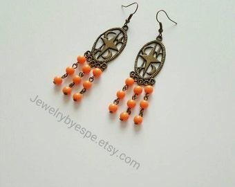 Moon & Stars Orange Earrings, Boho Earrings, Vintage Earrings, Bohemian Earrings, Retro Earrings, Dangle Earrings ,Gothic