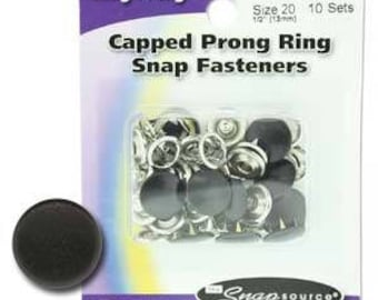 Snap Size 20 Fasteners, Capped Prong Matte Black Color - 10 Sets