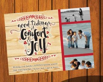Christmas Card / Photo Christmas Card / Custom Photo Christmas Card / Rustic Holiday Card / Photo Greeting Card / Comfort & Joy / 5x7