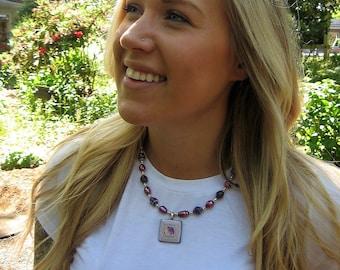 Paper bead necklace  - paper pendant necklace- paper bead jewelry - ladies necklace - paper jewelry