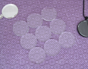 """20 - 30mm Round Glass Tiles - Flat on Both Sides - 1 3/16"""" Clear Tiles - 1 3/16 Inch - 30 mm Diameter Tiles - 4mm Thick"""