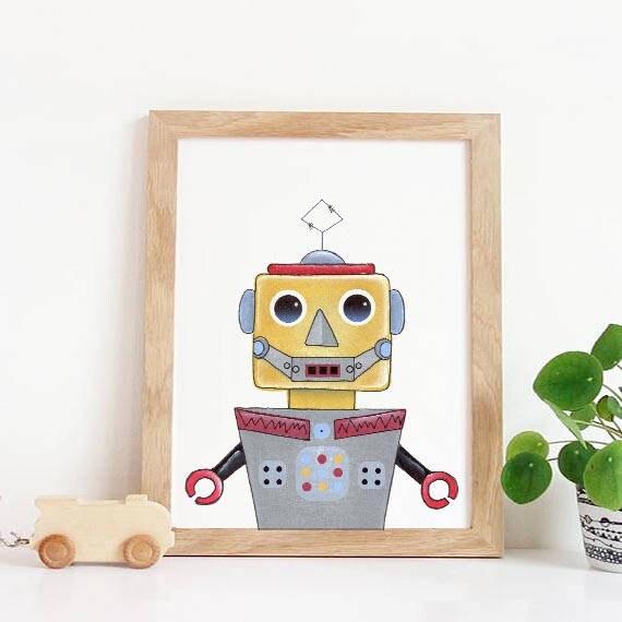 Robot Print Robot wall art nursery print Retro Poster Boys