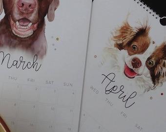 Calendar, Dog Calendar, Dog Lovers Calendar, Wall Calendar, Watercolour Calendar, 2018 Calendar, Calendar of Dogs