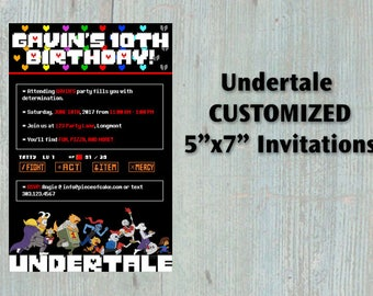 CUSTOMIZED Undertale Digital Invitations  - Birthday Party