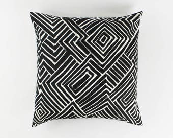 Quadrille Alan Campbell Melinda Pillows (Both Sides-Shown in Black on Tint)