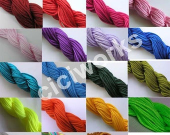 Wholesale 23 bundles 345 yards 1.5mm Chinese Knotting Cord/Braided Nylon Beading Cord of 23 colors GD23C74