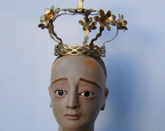 Large Metal Crown with 6 Flowers  for Santos Cage Doll