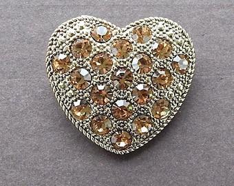 Vintage 1980's Liz Claiborne Goldtone Heart Brooch Pin Golden Topaz Rhinestone