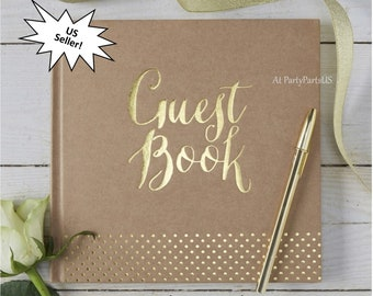 kraft wedding guest book, gold foil lettering, sign in, graduation party ideas, baby shower, bridal, retirement event, bed and breakfast