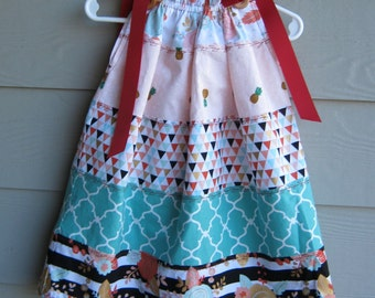 Child's Cranberry, Peach and Sage Tiered Print Pillowcase Dress - 24 mth or 2T - Tiered, pillowcase dress, infant dress, infant pillowcase