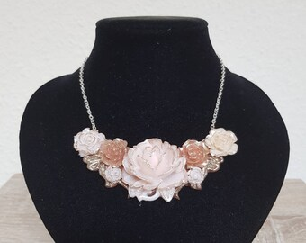 Polymer clay necklace with roses autumn pink vintage anemone white white lisianthus flowers