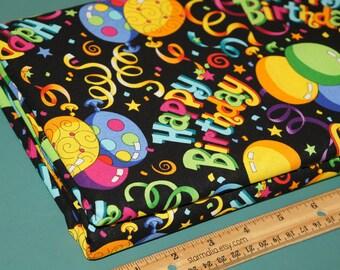1 Yard Novelty Cotton Fabric Birthday Black NEW