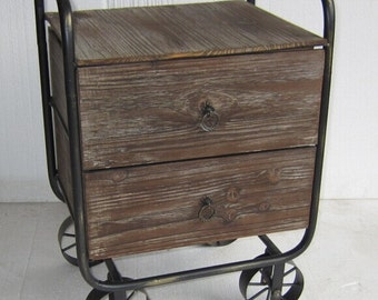 New Brown Industrial Rustic Cafe Home Bedside Chest Drawers Cabinets with Wheels