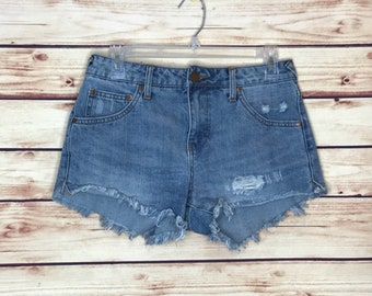 Vintage distressed blue jean denim shorts